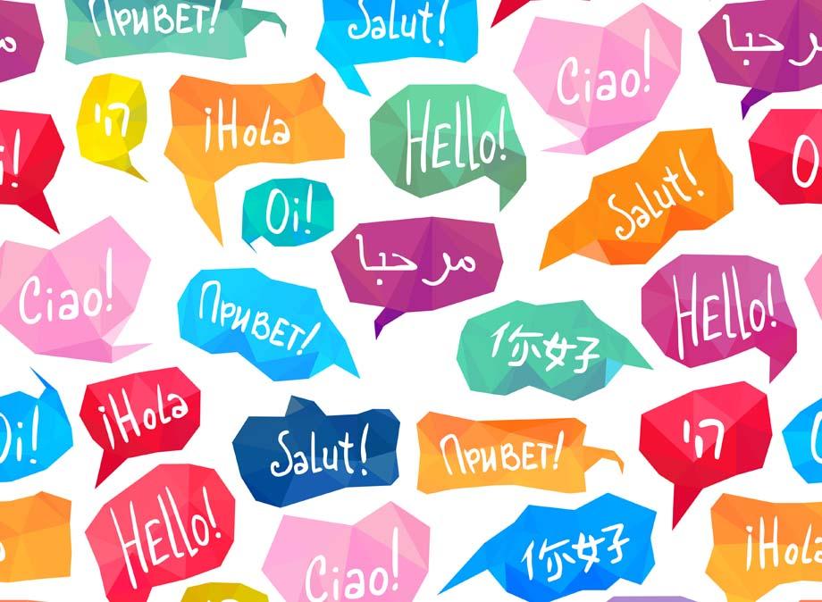 Sprechblasen mit Begrüßungen auf verschiedenen Sprachen